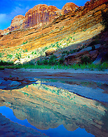 Reflections in Courthouse Wash, Arches National Park, Utah,  Canyon near Colorado River, Moab