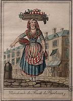 Fruit seller from Bordeaux, by Jacques Grasset de Saint Sauveur, 1757-1810, from the 'Gens du Petit Peuple', late 18th century, in the Musee d'Aquitaine, Cours Pasteur, Bordeaux, Aquitaine, France. Picture by Manuel Cohen