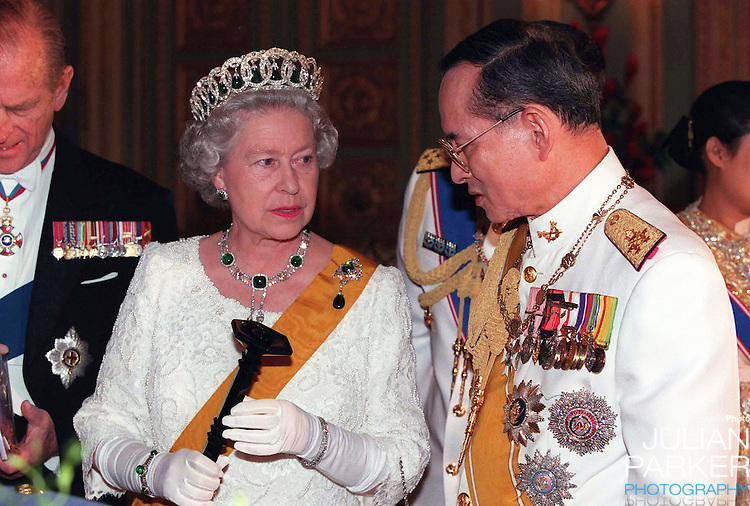 Queen Elizabeth and the Duke of Edinburgh, State Visit to Thailand.Queen Elizabeth, and The Duke of Edinburgh attend a State Banquet  hosted by King Bhumibol, and Queen Sirikit of Thailand,at The Grand Palace in Bangkok.Pool Picture: supplied by UK Press Ltd