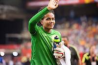 MONTREAL, Canada - Saturday June 13, 2015: Brazil defeats Spain 1-0 in Group E at the Women's World Cup Canada 2015 at Olympic Stadium in Montreal, Quebec, Canada.