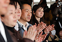 March 28, 2011, Ishonomaki, Japan - Parents applaud 36 survivors of the March 11 earthquake and tsunami during a graduation ceremony at a public school in Ishinomaki, Miyagi prefecture, on Tuesday, March 28. The ceremony took place in the arts and crafts room of the school, which has become a temporary shelter for the victims of the worst disaster. (Photo by AFLO) [3609] -mis-