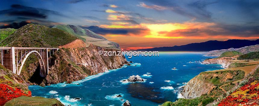 Bixby Bridge, Composite, Sunset, Central Coast, CA CGI Backgrounds, ,Beautiful Background