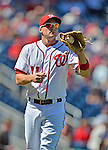 24 September 2012: Washington Nationals third baseman Ryan Zimmerman warms up prior to facing the Milwaukee Brewers at Nationals Park in Washington, DC. The Nationals defeated the Brewers 12-2 in the final game of their 4-game series, splitting the series at two. Mandatory Credit: Ed Wolfstein Photo