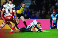 Joe Marchant of Harlequins scores the opening try. Aviva Premiership match, between Harlequins and Gloucester Rugby on December 27, 2016 at Twickenham Stadium in London, England. Photo by: Patrick Khachfe / JMP