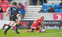 Picture by Allan McKenzie/SWpix.com - 04/03/2017 - Rugby League - Betfred Super League - Salford Red Devils v Warrington Wolves - AJ Bell Stadium, Salford, England - Salford's Junior Sa'u touches down after a kick through to score a try against Warrington.