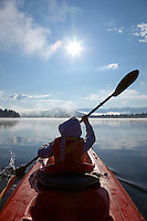 """Boy Kayaking on Prosser Reservoir 1"" - This photography of a boy kayaking was photographed on Prosser Reservoir in Truckee, CA."