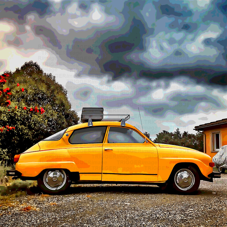 Old retro Saab car in usa