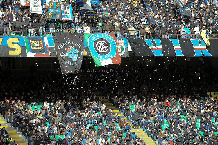 The Curva Nord of supporters Inter Team during the Serie Amatch between Inter vs Atalanta, on March 23, 2014. Photo: Adamo Di Loreto/NurPhoto