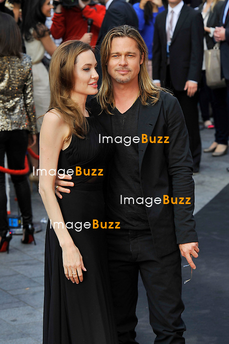 Angelina Jolie &amp; Brad Pitt attend the '&quot; World War Z' World &quot; Premiere at The Empire Leicester Square in London.<br /> June 2, 2013.