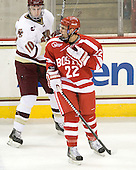 Ross Gaudet (BU - 22) had the puck go into the neck of his sweater. - The Boston College Eagles defeated the visiting Boston University Terriers 5-2 on Saturday, December 4, 2010, at Conte Forum in Chestnut Hill, Massachusetts.