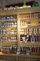 Display of regional speciality foods for sale at cafe La Rose de Vergy in Rue de la Chouette in Dijon in the Burgundy region of France