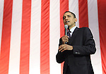 Barack Obams speaks at a San Antonio rally at the Verizon Wireless Ampitheater prior to the March 4 aTexas Primary  (Marvin Pfeiffer/PressPhotoIntl.com)