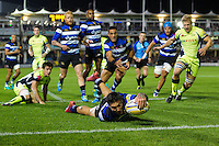 Matt Banahan of Bath Rugby reaches for the try-line to score his 50th Premiership try. Aviva Premiership match, between Bath Rugby and Sale Sharks on October 7, 2016 at the Recreation Ground in Bath, England. Photo by: Patrick Khachfe / Onside Images