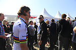 World Champion Peter Sagan (SVK) Bora-Hansgrohe and Manuel Quinziato (ITA) BMC at the Team Presentation for the upcoming 115th edition of the Paris-Roubaix 2017 race held in Compiegne, France. 8th April 2017.<br /> Picture: Eoin Clarke | Cyclefile<br /> <br /> <br /> All photos usage must carry mandatory copyright credit (&copy; Cyclefile | Eoin Clarke)