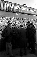 Pix:Michael Steele/SWpix...Rugby League. Featherstone Rovers. ..COPYRIGHT PICTURE>>SIMON WILKINSON..Featherstone Rovers fans gather before a game.
