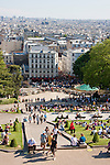 Crowds visiting Montmartre in Paris France in May 2008