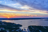 This another Lake Travis sunset with a colorful sun setting over the hill country. Lake Travis is about 20 to 30 minutes from Austin at the right time of day. You can still see the lake is up from the last five years of drought at least for now. This is one of the best view of the lake.