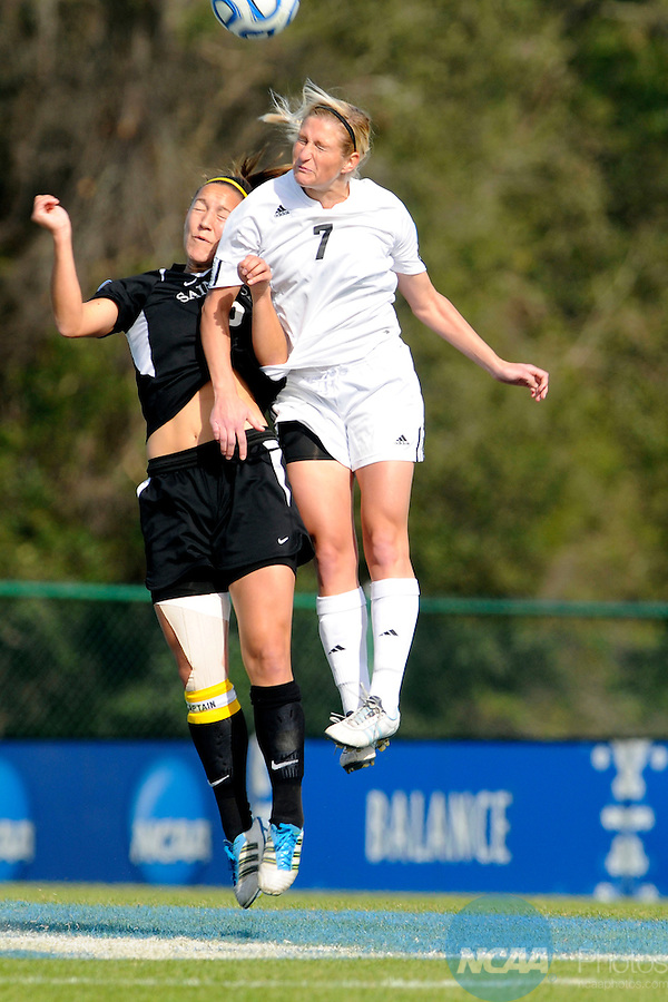 03 DEC 2011: Kimberly Morton (15) of Saint Rose and Krin Mruz (7) of GVSU battle for the ball during the Division II Women&rsquo;s Soccer Championship held at the Ashton Brosnaham Soccer Complex in Pensacola, FL.  Saint Rose defeated Grand Valley State 2-1 to win the national title.  Stephen Nowland/NCAA Photos