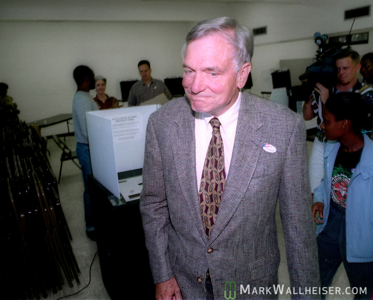 First term Florida Governor Lawton Chiles leaves the polls after he  voted on election day November 8, 1994.  Chiles won reelection for a second term.