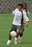 Mexico national soccer team players Jose Andres Guardado (L) and Joel Huiqui Andrade train at the Centro Pegaso training center, March 27, 2006. Photo by Javier Rodriguez