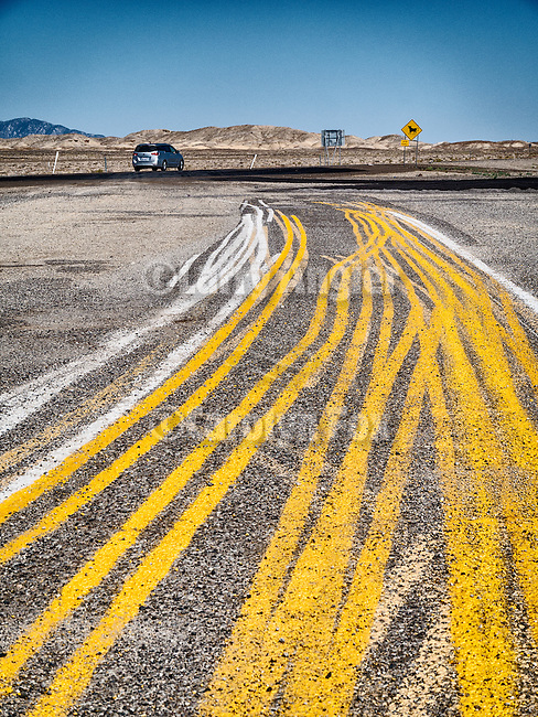 Multiple striping on the pavement, Coaldale Jct., Nev.<br /> <br /> (Road to Area 51)