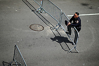 NEW YORK, NY - May 04:  A NYPD officer stands guard near the Intrepid Sea, Air and Space Museum before President Donald Trump arrive to city on May 04, 2017. in New York. U.S. president Trump will meet Australian Prime Minister Malcolm Turnbull on the 75th anniversary of the Battle of the Coral Sea by US and Australian forces against the Japanese In New York City. Photo by VIEWpress/Eduardo MunozAlvarez