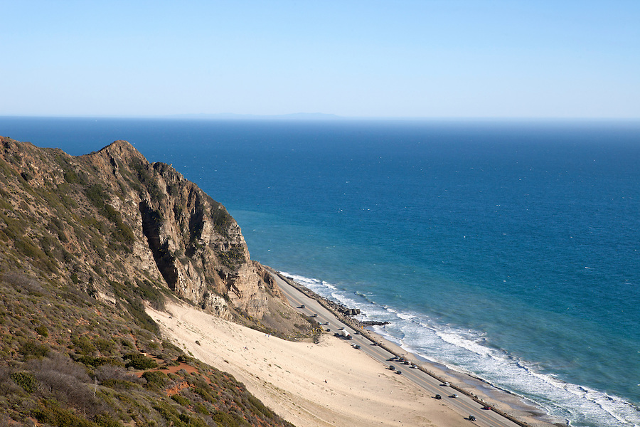 Birds Eye View of the Pacific Ocean and coastline in Point Mugu State Park, a few miles north of Malibu, California, USA