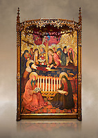 Gothic altarpiece of the Dormition of the Madonna (Dormicio de la Mare de Dieu) by Pere Garcia de Benavarri, circa 1460-1465, tempera and gold leaf on wood.  National Museum of Catalan Art, Barcelona, Spain, inv no: MNAC  64040. Against a art background.