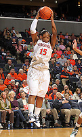 Jan. 6, 2011; Charlottesville, VA, USA; Virginia Cavaliers guard Ariana Moorer (15) grabs the rebound during the game against the Miami Hurricanes at the John Paul Jones Arena.  Mandatory Credit: Andrew Shurtleff