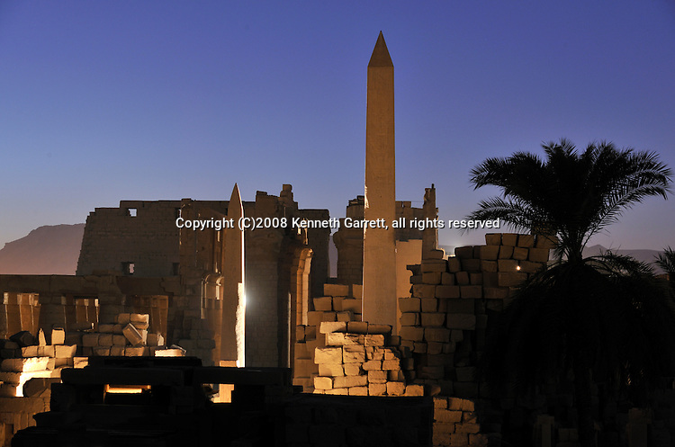 Hatshepsut; MM7715; Karnak Temple; Luxor; Hatshepsut Obelisk; sunset, New Kingdom; 18th dynasty, Hypostyle hall, Thebes, light and sound show