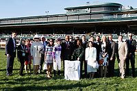 LEXINGTON, KY - April 08, 2017, Winner's presentation for #6 Irap and jockey Julien Leparoux after winning the 93rd running of the Toyota Blue Grass Grade 2 $1,000,000 for owner Reddam Racing and trainer Doug O'Neill at Keeneland Race Course.  Lexington, Kentucky. (Photo by Candice Chavez/Eclipse Sportswire/Getty Images)