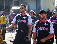 Oct 16, 2016; Ennis, TX, USA; Crew members Gary Pritchett and Dom Lagana for NHRA top fuel driver Steve Torrence during the Fall Nationals at Texas Motorplex. Mandatory Credit: Mark J. Rebilas-USA TODAY Sports