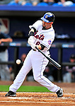 2 March 2010: New York Mets' outfielder Jesus Feliciano gets a base hit to lead off a game against the Atlanta Braves during the Opening Day of Grapefruit League play at Tradition Field in Port St. Lucie, Florida. The Mets defeated the Braves 4-2 in Spring Training action. Mandatory Credit: Ed Wolfstein Photo