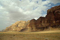 Sparse tussock and rock formations in the Wadi Rum desert, Jordan.