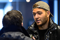 New York Red Bulls goalkeeper Santiago Castano is interviewed at Red Bull Arena in Harrison, NJ, on January 24, 2014.