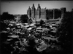 Grand mosque of Djenne on market day, Mali, West Africa.
