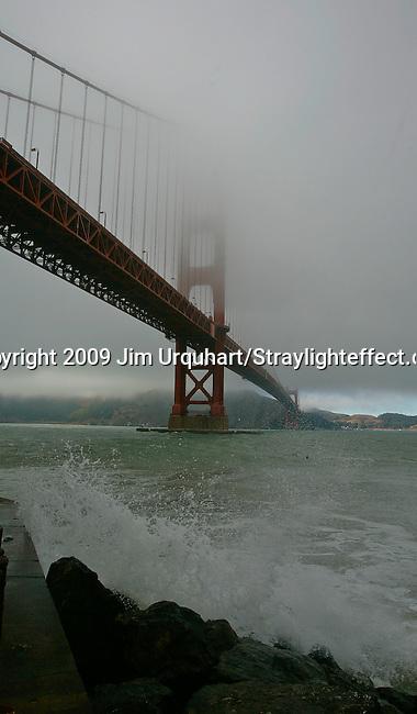The Golden Gate Bridge in the fog in San Francisco, California. Jim Urquhart/Straylighteffect.com<br /> 7/28/2009