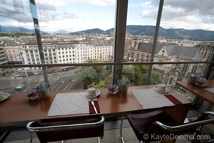 View of Geneva from the restuarant at the Hotel Cornavin in Geneva, Switzerland