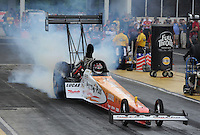 May 14, 2011; Commerce, GA, USA: NHRA top fuel dragster driver Clay Millican during qualifying for the Southern Nationals at Atlanta Dragway. Mandatory Credit: Mark J. Rebilas-