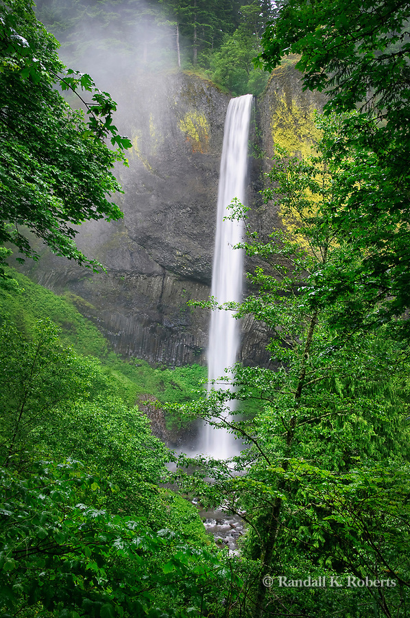 Water tumbles over Latourelle Falls, in the Columbia River Gorge National Scenic Area, Oregon
