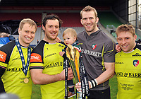 Matthew Tait, Matt Smith, Tom Croft and Tom Youngs of Leicester Tigers pose with the Anglo-Welsh Cup trophy. Anglo-Welsh Cup Final, between Exeter Chiefs and Leicester Tigers on March 19, 2017 at the Twickenham Stoop in London, England. Photo by: Patrick Khachfe / JMP