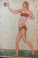 Roman mosaics of a women in a bikini exercising with a ball, from the Room of the Ten Bikini Girls, room no 30 , at the Villa Romana del Casale which containis the richest, largest and most complex collection of Roman mosaics in the world. Constructed  in the first quarter of the 4th century AD. Sicily, Italy. A UNESCO World Heritage Site.