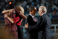 DENVER, CO - August 28, 2008:  Barack Obama and Michelle Obama, Joe Biden and Jill Biden on stage following Obama's acceptance speech on the final night the 2008 Democratic National Convention at Invesco Field in Denver, Colorado.