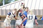27 October 2013: Duke's Kaitlyn Kerr (in blue) challenges for a header with Pittsburgh's Morgan Sharick (25) and Siobhan McDonough (2nd from left) as Roosa Arvas (FIN) (13) watches. The Duke University Blue Devils hosted the Pittsburgh University Panthers at Koskinen Stadium in Durham, NC in a 2013 NCAA Division I Women's Soccer match. Duke won the game 6-3.