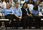 "13 October 2006: UNC Women's basketball head coach Sylvia Hatchell (l) with assistant coaches (from left) Andrew Calder, Tracey Williams-Johnson, and Charlotte Smith-Taylor. The University of North Carolina at Chapel Hill Tarheels held their first Men's and Women's basketball practices of the season as part of ""Late Night with Roy Williams"" at the Dean E. Smith Center in Chapel Hill, North Carolina."
