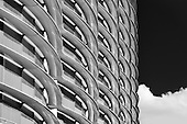 The Walbrook Building between Cannon Street and Bank Underground Station in Black and white. The repetitive round pattern is the distinct reinforced polymer shading.<br />