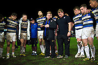 Bath Rugby Head Coach Mike Ford speaks to his team after the match. Aviva Premiership match, between Gloucester Rugby and Bath Rugby on March 26, 2016 at Kingsholm Stadium in Gloucester, England. Photo by: Patrick Khachfe / Onside Images