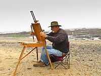 Plein air artist Edwin Bertolet (www.ebertolet.com)  prepares his tools.