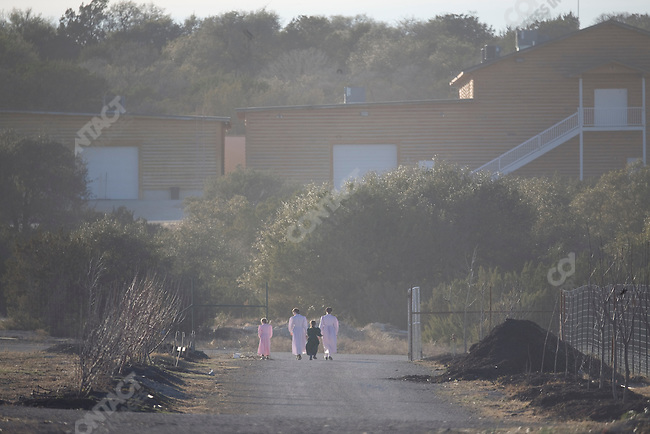 "Fundamentalist Mormon group F.L.D.S.,  orchard on the ""Yearning for Zion"" compound in Eldorado, Texas, USA, February 11, 2009"