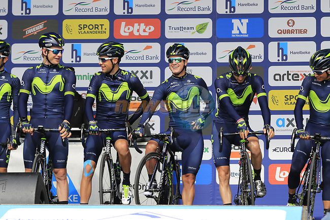 Movistar Team presented to the crowd before the start of the 60th edition of the Record Bank E3 Harelbeke 2017, Flanders, Belgium. 24th March 2017.<br /> Picture: Eoin Clarke | Cyclefile<br /> <br /> <br /> All photos usage must carry mandatory copyright credit (&copy; Cyclefile | Eoin Clarke)